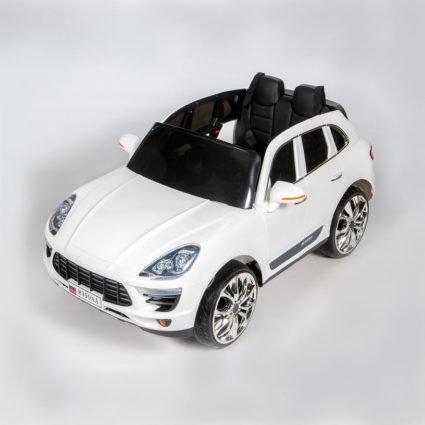 Электромобиль Porsche Macan M999AA белый (резиновые колеса, кресло кожа, пульт, музыка)